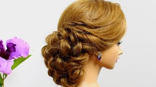 Curly wedding  hairstyle for medium hair tutorial.