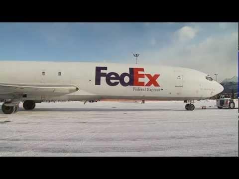 Fedex Plane Lands at Merrill Field in Anchorage Alaska