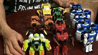Yellow, police, blue, red cars, robot transformer dinosaurs- robot squad - biệt đội robot