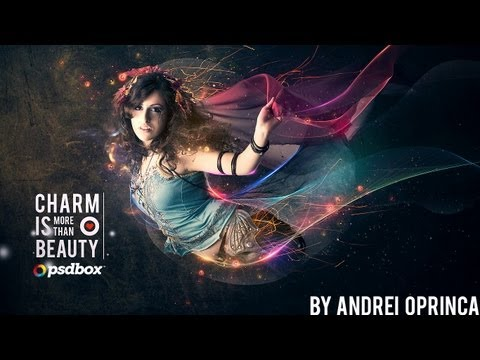 0 Beautiful lady with flowing light effects   Photoshop Tutorial