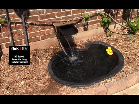 DIY solar powered front porch pond cascading waterfall pump