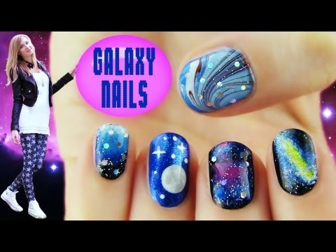 Galaxy Nails! 5 Galaxy Nail Art Designs & Ideas video