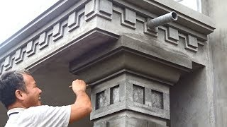 Amazing Techniques Rendering Sand and Cement to Concrete Columns   Building Houses Step By Step