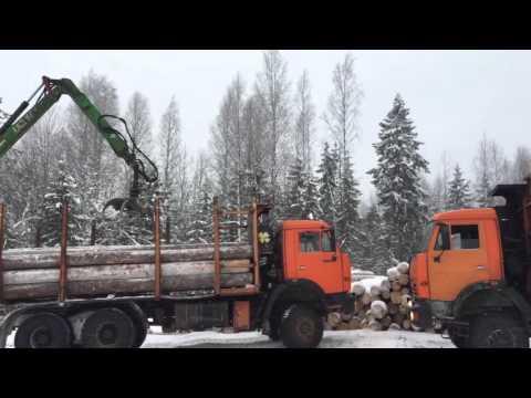 Погрузка леса на КАМАЗ манипуляторами Essel EC80S-96 и Loglift F96ST
