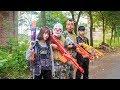 MASK Nerf War : Female Police Officer S.W.A.T  Warrior Alpha Nerf Guns Attack Criminal Group Mask
