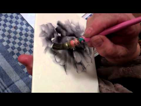 Porcelain Painting a Black Poppy by Chris Ryder