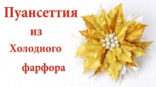 Golden Poinsettiaflower flower ♥ Christmas gewelry of cold porcelain detailed tutorial