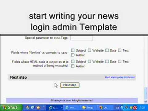 Baseportal easy start, Make a News System