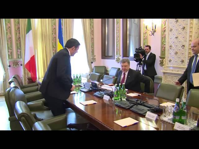 Matteo Renzi in Ucraina a Kiev da Petro Poroshenko