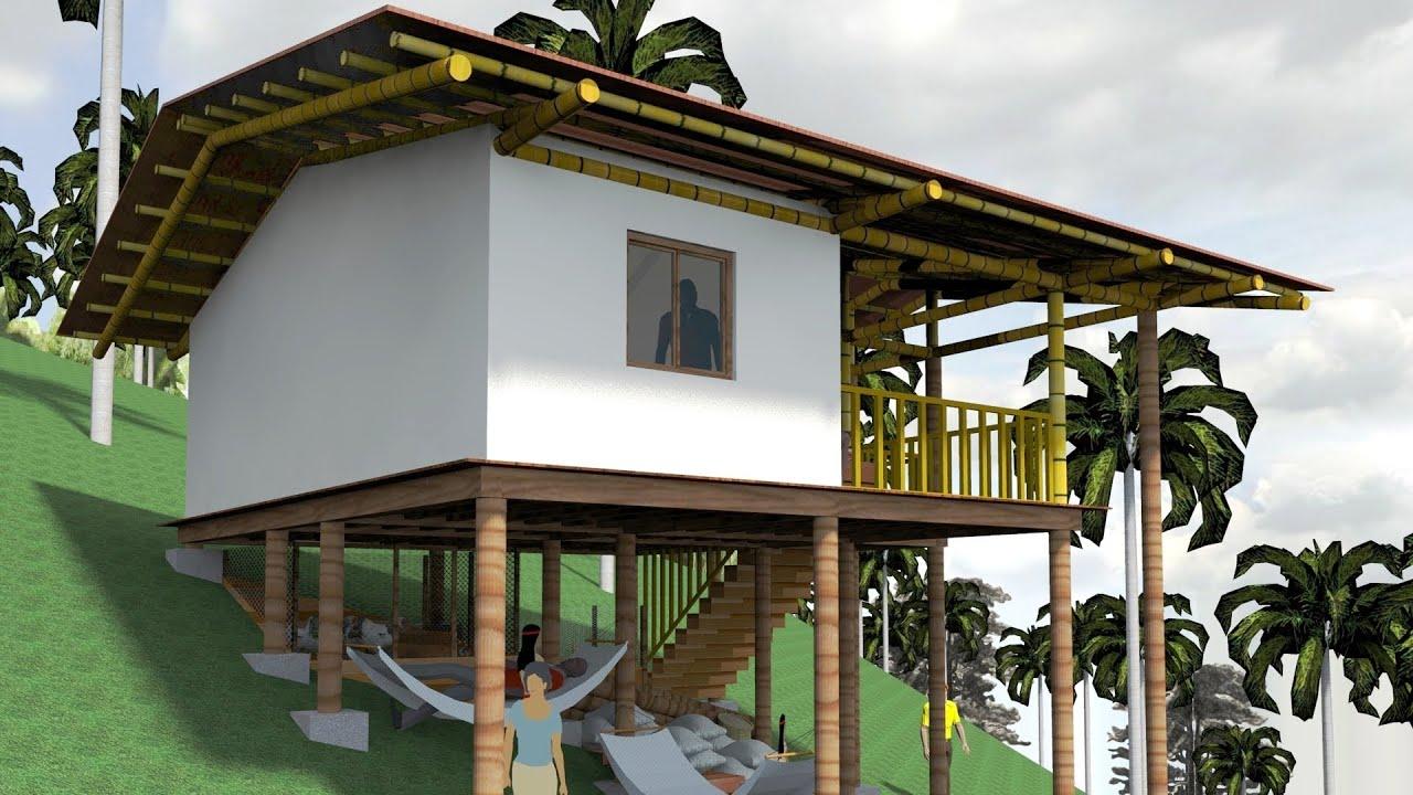 Casa ind gena palafitica en madera y bamb guadua youtube for Construccion de casas