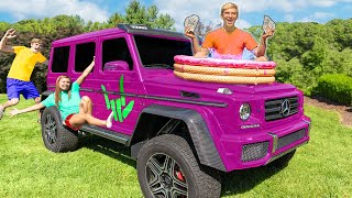 LAST TO LEAVE SPY WAGON WINS $10,000!! (24 Hour Sharer Fam Backyard Survival Challenge)