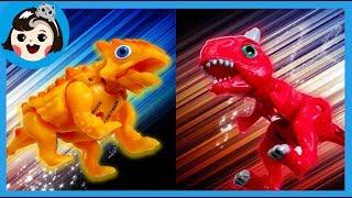 [A dda dda Toys] Dino mecard battle , Carnotaurus VS Ankylosaurus , dinosaur(for kids)