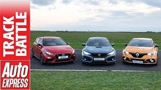 Honda Civic Type R vs Renault Megane RS vs Hyundai i30N - hot hatch Track Battle