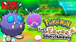 Pokemon Let's Go Shiny Hunting VENONAT Live (3 Shinies But No Venonat)