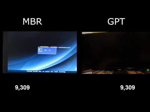 Windows 8 boot with MBR and GPT comparison
