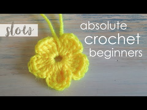 (crochet) How To - Crochet a Simple Flower version 2 - Absolute Beginners Music Videos