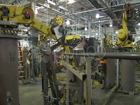 Robot Arm With Car Part. Stock Footage