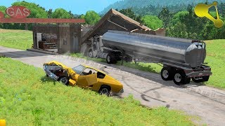 Destroying destructible buildings with cars #2 BeamNG.Drive