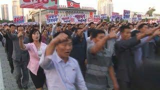 平壌で10万人の反米集会