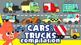 Cars for Kids | Car Cartoons | learn Trucks and Street vehicles | 30 minutes | Club Baboo car wash
