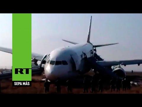 Primeras imágenes del avíon accidentado en Nepal con 238 personas a bordo