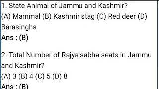 Important Jammu Kashmir GK questions, 2018