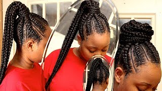 Protective Style | Feed-in Braid into Ponytail