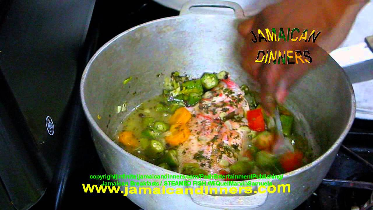 Steamed fish with okra and crackers jamaican breakfasts for Jamaican steam fish recipe