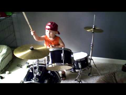 two year old metal drummer