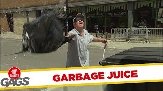 Garbage Juice Sprayed on People Prank