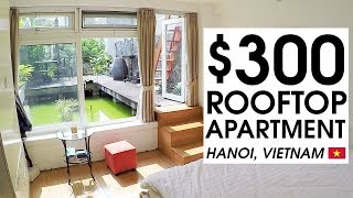 $300 TINY ROOFTOP APARTMENT TOUR in HANOI | LIFE IN VIETNAM
