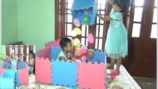 Bé Xếp Ngôi Nhà Bóng Tự Chế Cực Đẹp - Trò Chơi Xếp Hình Nhà Bóng Puzzle Game*_*Baby channel.