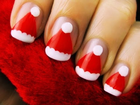 Easy Santa Hat Nail Art