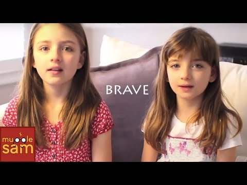 Brave by Sara Bareilles (Lyric Video Sing-A-Long) | 8 and 10 Year Old Sophia & Bella | Mugglesam