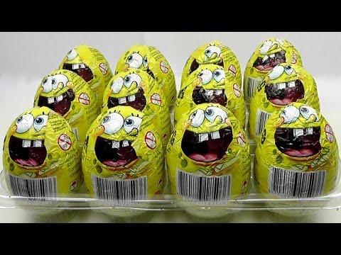 12 SPONGEBOB Chocholate Surprise Eggs Unboxing