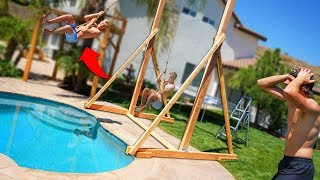 We built a DANGEROUS Giant Backyard Rope Swing into our Pool!!