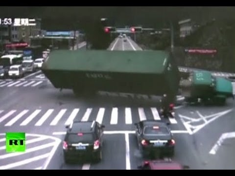 Close Shave: Truck overturns, misses...