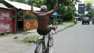 Funny and CRAZY Old Man Riding Bicycle