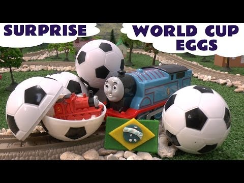 Thomas and Friends Surprise Eggs Play Doh World Cup Brasil Egg Surprise Toys Football Soccer
