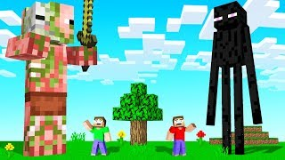 MINECRAFT But The EVIL MOBS Are HUGE! (scary)
