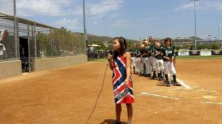 Kaitlyn Delos Santos singing the National Anthem
