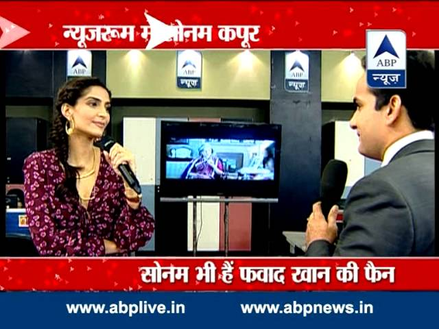 Sonam Kapoor promotes upcoming flick 'Khoobsurat' in ABP Newsroom