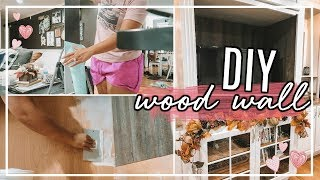 DIY RUSTIC WOOD WALL UNDER $40 | HOW TO WOOD PLANK ACCENT WALL DIY | Page Danielle