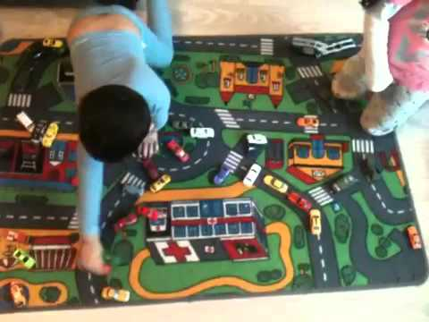 Kids Playing Diecast Cars On Car Play Mat YouTube