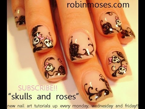 Retro Girly Skulls Nail Art w/ Black Filigree Roses
