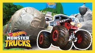 MONSTER TRUCKS CRUSHED BY GIANT BOULDERS! | Monster Trucks | Hot Wheels