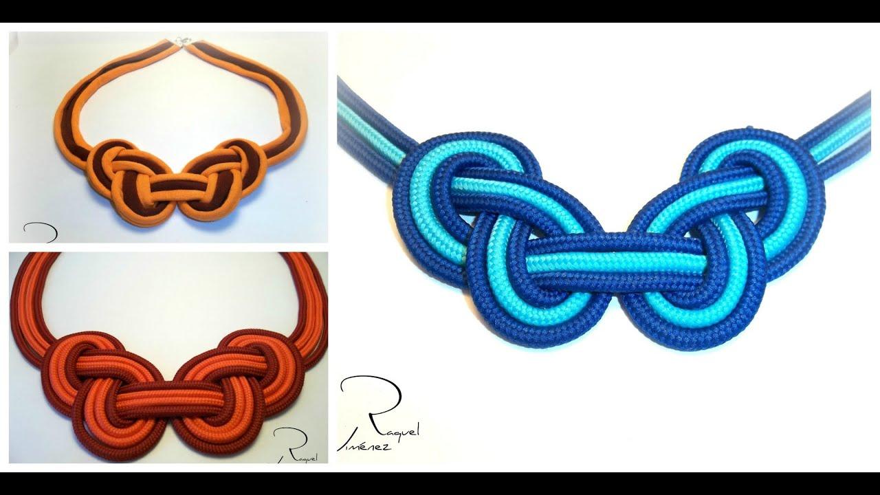 Como hacer un collar de trapillo con un nudo celta de dos - Como hacer alfombras con trapillo ...