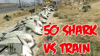 GTA 5 | 50 tiburones vs tren | 50 shark vs train | Reto #2 en GTA V