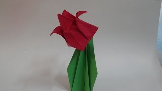 튤립 색종이 접기  - Colored paper origami tulip