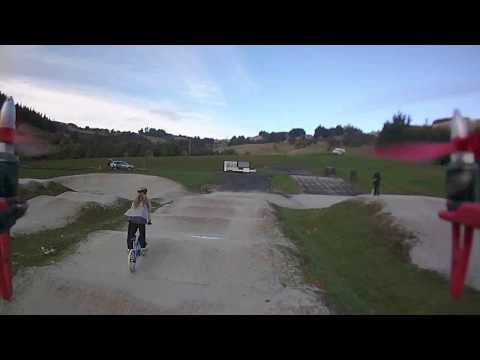 Multicopter fly over of Forester Park BMX track.